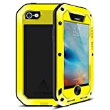 Feitenn Feitenn iPhone 6S Wasserdicht Fall, Armor Aluminium Metall Gorilla Glas Heavy Duty stoßfest Schutz Case aus Karbonfaser für iPhone 6/iPhone 6S Gelb