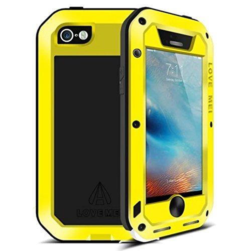 Feitenn iPhone 6S Wasserdicht Fall, Armor Aluminium Metall Gorilla Glas Heavy Duty stoßfest Schutz Case aus Karbonfaser für iPhone 6/iPhone 6S Gelb - Iphone Otterbox Gelb Sechs