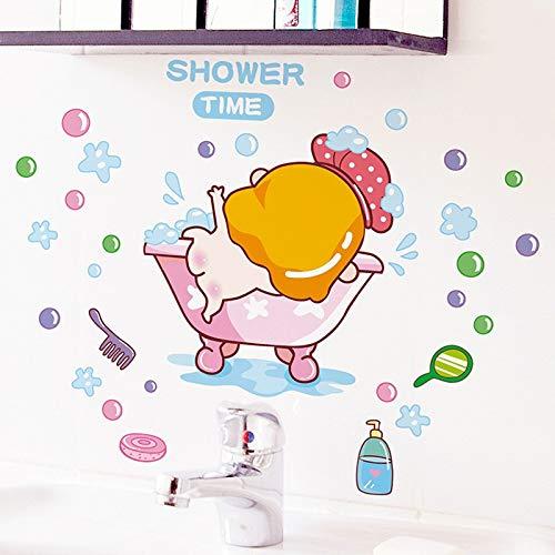 XCGZ Wandsticker Cartoon Baby Shower Time Wandaufkleber Für Baby Zimmer Bad Glas Dekoration Decals Tapete Dusche Nette Aufkleber