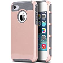 ULAK caso del iPhone 4, iPhone 4S funda casos de doble capa + TPU caso de la cubierta protectora dura hñbrida del PC para Apple iPhone 4 4S (Rosa Oro + Gris)