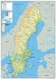 Schweden Physikalische Karte–Papier laminiert A0 Size 84.1 x 118.9 cm farblos