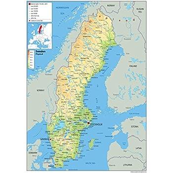Schweden Karte Deutsch.Physische Karte Von Norwegen Laminiert A0 Size 84 1 X 118 9
