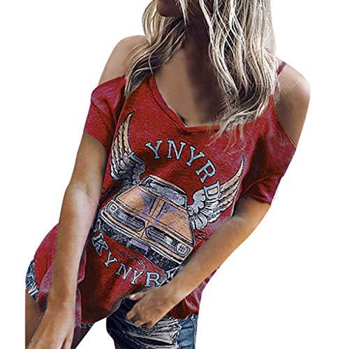 Mujer Camiseta Casual Tirantes Mangas Hombros Descubiertos Blusa Mujer, MNRIUOCII Blusas Camisetas de Gasa Ropa de Mujer Suéter Camisas Manga Blusas Tops Suelta