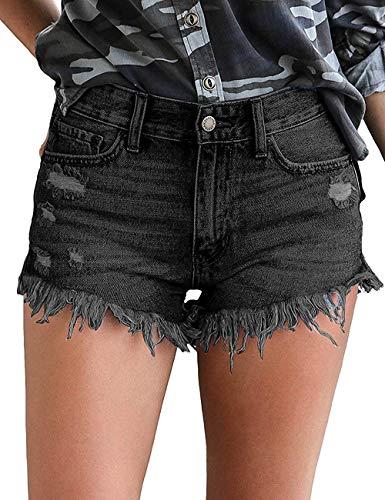 OranDesigne Damen Kurze Jeans Hosen Mittlerer Aufstieg Kurze Hose Jeans Shorts mit Quaste Ripped Loch Sommer Hotpants Denim Shorts Schwarz S - Aufstieg Kurz