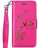 ISAKEN Hülle für Samsung Galaxy Core Plus, PU Leder Geldbörse Wallet Case Ledertasche Handyhülle Tasche Schutzhülle mit Handschlaufe Strap für Samsung Galaxy Core Plus - Gold Schmetterling Rosa