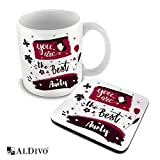 alDivo Premium Quality You are The Best Aunty Printed Combo Gift Pack of Ceramic Coffee Mug 330 ml + Printed Coaster