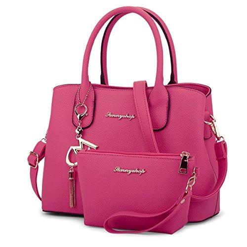 HQYSS Borse donna Cuoio di grande capienza della spalla del messaggero borsa solido Colore Donne Crossbody Tote Bag regolabile Telefono Pochette Pacchetto 2 piece set , rose red rose red
