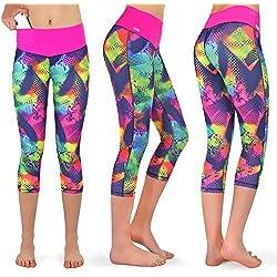 Formbelt® Leggings Sportivi da Donna a Tre Quarti con Marsupio per Cellulare Pantaloni da Corsa Fitness Sport Fuseaux Colorati (Brasile XS)