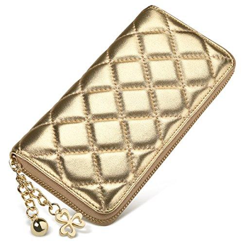 Portafoglio Donna Con Zip Lunga Portafoglio Classico Multifunzione In Pelle Di Pecora Borsa Multifunzione Con Portamonete Gold
