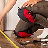 NoCry Flooring & Roofing Knee Pads - with Foam Padding and No-slip Leather Stabilizers, Strong Double Straps and Adjustable Easy-Fix Clips