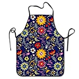 Not afraid Unisex Christmas Floral Flower Lock Edge Waterproof Durable String Adjustable Easy Care Cooking Apron Hen Apron For Women Men Chef
