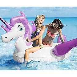Unicornio Flotador con alas, Juguete Hinchable con Gigante tamaño, Juguete Acuático Fresco para la Piscina y Tomar el sol en el Verano(púrpura)