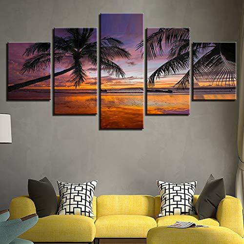 Bilder Auf Leinwand Dekorative Malerei Kunst Gedruckt Moderne Palm Tree Sunset Beach Landschaft Muster 5 Stücke Wandkunst Malerei Bilder Druck Auf Leinwand Das Bild Für Zuhause
