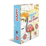 HERMA 7024 Motiv-Ordner DIN A4 Crazies Happy Flamingo, 7 cm breit aus stabilem Karton mit buntem Innendruck, Ringordner, Aktenordner, Briefordner, 1 Ordner