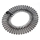Schwarze Plastik Dehnbar Sport Haarband Full Circle Flexibel Kamm Zähne Kopfband Clip