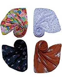 Letz Dezine ™ Printed Poly Cotton Set of four mullticoloured stoles ; Scarf and stole for women