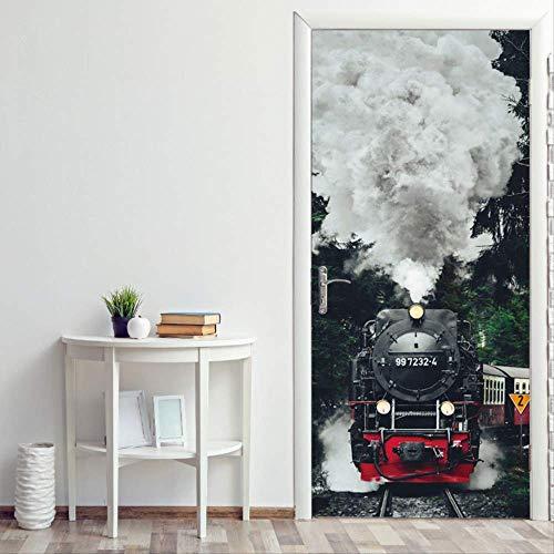 Schiene Zug Kreative 3D Stereo Tür Aufkleber Home Persönlichkeit Dekorative Wandaufkleber Selbstklebende wasserdichte Aufkleber 2 Pcs/Set 77x200cm ()