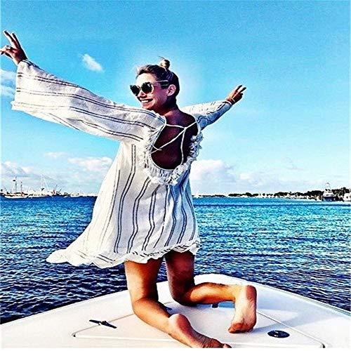 LABAICAI Bikini vertuschen 2019 Sexy gestreifte Quasten Backess Frauen Kleid Beachwear Sommer Kaftan Swim Kleid lose Badeanzug Strand trägt (Color : White, Size : One Size) - Kapuzen-elasthan Vertuschen