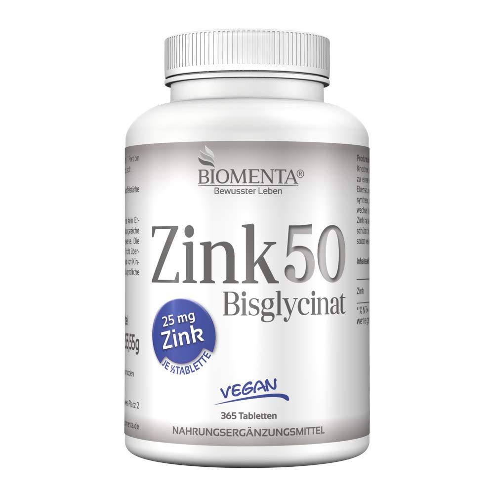 Zink Tabletten Bio Tech hochdosiert 50mg pro 2 Tage mit Zink-Bisglycinat Chelat