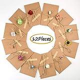 Handgemachte Grußkarte - DIY handgemachte Retro-Kraftpapier-Dankeschön-Karten, dekorierte Postkarte Umschlag mit handgemachten Blumen und Aufkleber Segen Universal-Karte für jeden Anlass (12 Pack)
