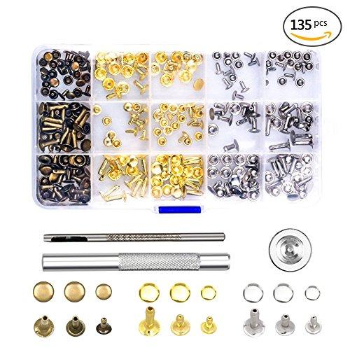 (135 Sets Nieten Leder Nieten Einzel Kappe Niet Metall Bolzen mit Fixing Tool Kit für Leder Handwerk Reparaturen Dekoration, 3 Größen)