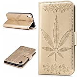 HTC Desire 820 Case,BONROY® HTC Desire 820 Maple leaf embossed pattern PU Leather Phone Holster Case, Flip Folio Book Case Wallet Cover with Stand Function, Card Slots Money Pouch Protective Leather Wallet Case for HTC Desire 820