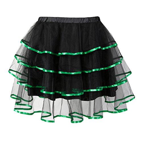 Frauen Multilayer Organza Mini Tutu Party Kleid Prinzessin Ballerina Fluffy Petticoat Rock Green-L (Organza Ballerina)