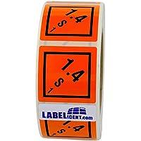 Gefahrgutaufkleber - Klasse 1 - Explosive Stoffe (1,4 - S - 1) - 50 x 50 mm - 1000 Gefahrgutetiketten, Vinyl Folie, orange, permanent haftend