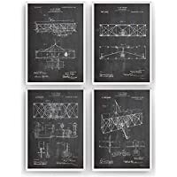 Los Hermanos Wright Poster de Patente - Pack de 4 Láminas - Patent Póster Con Diseños Patentes Decoracion de Hogar Inventos Carteles Prints Art Posters Regalos Decor - Marco No Incluido
