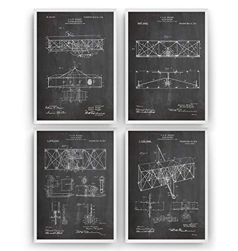 Wright Brothers Patent Posters - Set Of 4 Art Prints - Pilot Gifts For Men Women Aviation Flying Machine Blueprint - Frame Not Included