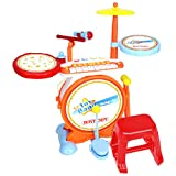 Charles Bentley Bontempi Digital Drum Kit Set With Electronic Keyboard Stool 8 Demo Songs 4 Percussion Sounds Age 18+ Months