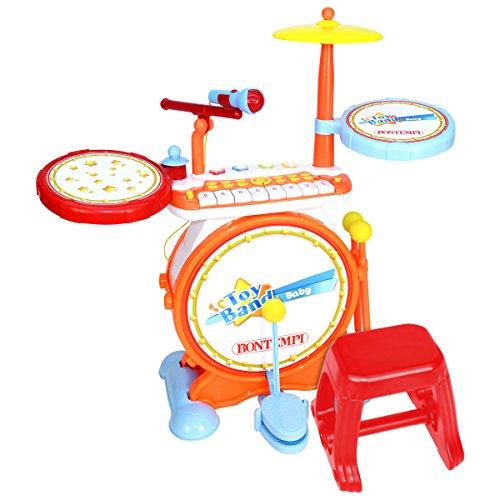 Bontempi - Elektronisches Schlagzeug für Kinder mit Keyboard & Hocker - 4 Sounds - für Kinder ab 18 Monaten