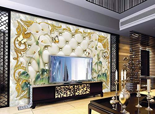 Minyose Benutzerdefinierte Wallpaper Home Dekorativen Hintergrund Wandbild Marmor Soft Bag Calla-Linse Tv Sofa Background Wandbild 3D Tapete-450cmx300cm
