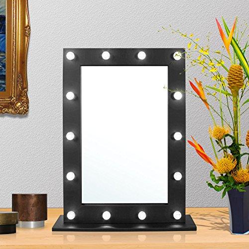 Taylor & Braun® Hollywood Make-up Kosmetikspiegel mit Licht beleuchtet Make-up, Schminktisch-Set Spiegel, LED beleuchtet Wand montiert Kosmetik Spiegel, Schwarz, Dressing Table Mirror