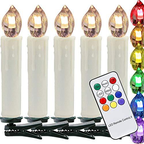 VINGO 50er LED Weihnachtskerzen RGB Weihnachtsbeleuchtung Lichterkette mit Infrarot Funk Kabellos Fernbedienung Weihnachtsbaum Kerzen mit Clip Grün LED Licht für Innen, Außen, Christbaumsdeko, Geburtstags