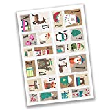 24 Autocollants avec numéro pour Calendrier de l'Avent Timbre Ourson Nr 49 - Autocollants - pour créer ou décorer...