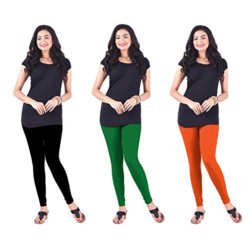 Lux Lyra Silk Multicolor Churidar Leggings(Pack Of 3)