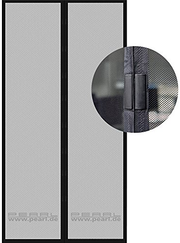 Preisvergleich Produktbild PEARL Selbstschließendes Fliegennetz für Türen, 90 x 210 cm, schwarz
