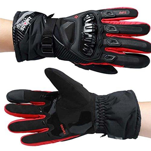 Preisvergleich Produktbild Herren Sport Sommer Winter Vollfinger Handschuhe Blau Rot Schwarz Handschuhe Herren Professionelle motorradhandschuhe (Red, L)