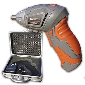 Terratek 3.6V Lithium Ion Cordless Screwdriver Set, Includes Comprehensive 102pc Screwdriver Bit Set & Aluminium Carry Case