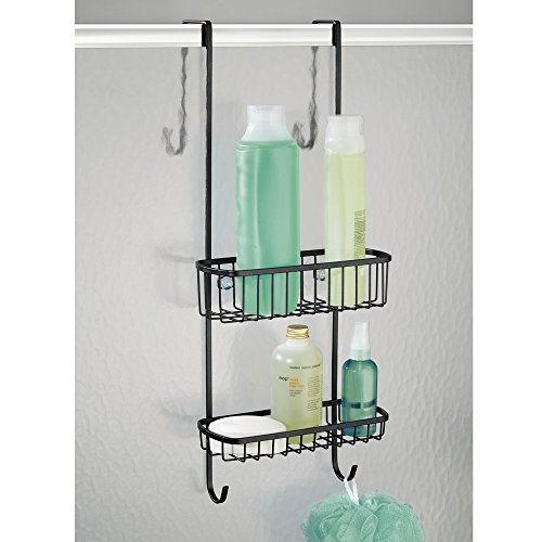 mdesign-bathroom-over-shower-door-caddy-for-shampoo-conditioner-soap-matte-black