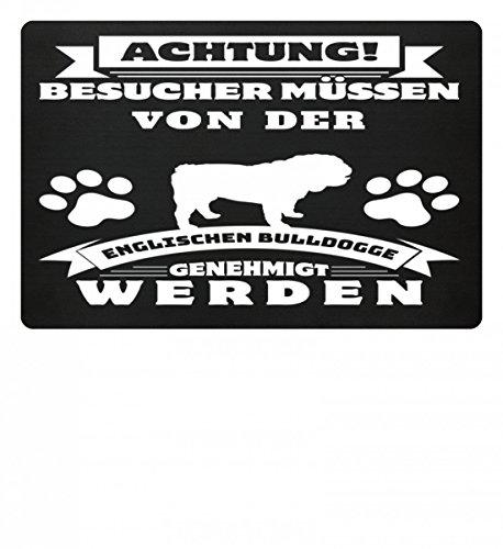 Shirtee Hochwertige Fußmatte - Besucher müssen von der Englischen Bulldogge genehmigt werden