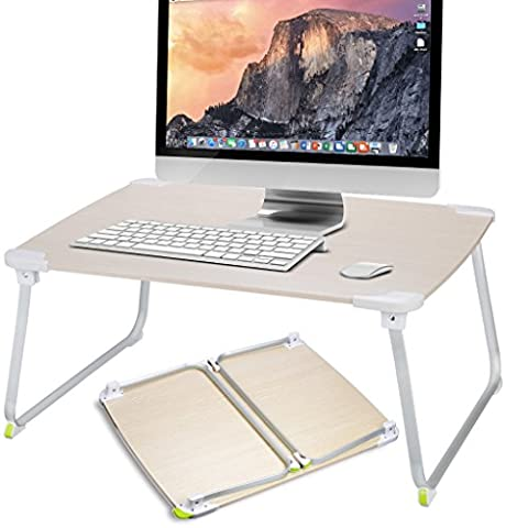 [EXTRA LARGE] Avantree Foldable Laptop Bed Table for Game, Portable Standing Desk, Breakfast Tray, Multipurpose Wooden Picnic Table for Park and Garden -
