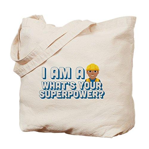 (CafePress Emoji Superpower Bauarbeiter-Tragetasche, canvas, khaki, M)