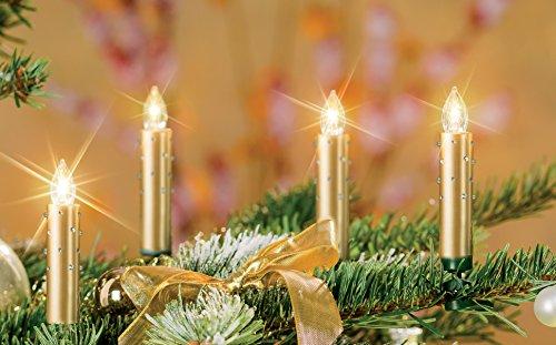 12er Set LED Weihnachtskerzen Set, Wahlweise in den Farben: Rot, Silber, Creme/Elfenbein mit Glitter, Creme/Elfenbein, Gold und Creme/Elfenbein mit Farbwechsel inkl. Batterien, Dimmbar, Flackermodus, Timer, GS geprüft, Hansecontrol Testnote: 1,7 - kabellose Weihnachtsbaumbeleuchtung für Innen- und Außen (Gold mit Glitter)
