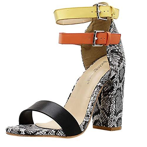 Alaso - Scarpette da donna in pelle di serpente, punta aperta, tacco grosso, scarpe da città, 2019 grigio 38