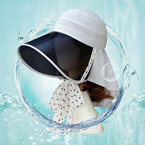 Femme chapeau de soleil d'été pour monter un lunettes en plein air protection du cou vélo plage chapeau ne peut pas être plié ( couleur : Blanc ) Gray
