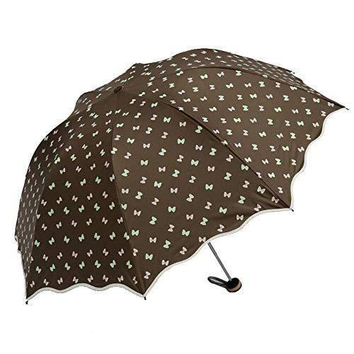Giow Tragbarer Regenschirm mit doppeltem Verwendungszweck, UV-beständig gegen Sonnenschutz, dreifach zusammenlegbar, weibliche Kompaktschirme (Farbe: Hellbraun)