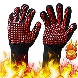 EKKONG Grillhandschuhe,Hitzebeständige Ofenhandschuhe bis 800 Grad, rutschfeste Hitzebeständiger Handschuhe mit Silikon,Zum Grillen,Kochen,Schweißen,Feuerplatz (Flammenrot)