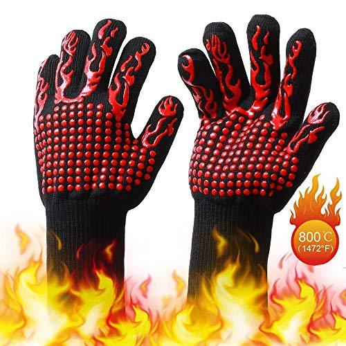 EKKONG Grillhandschuhe,Hitzebeständige Ofenhandschuhe bis 800 Grad, rutschfeste Hitzebeständiger Handschuhe mit Silikon,Zum Grillen,Kochen,Schweißen,Feuerplatz (Flammenrot) - Silikon-grillen-handschuhe